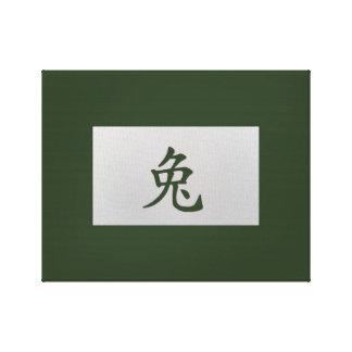 Kinesisk zodiac undertecknar kaningrönt canvastryck