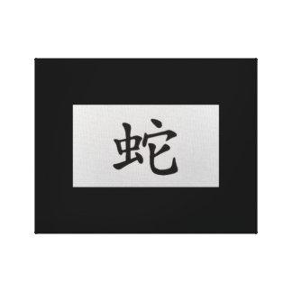 Kinesisk zodiac undertecknar ormsvart canvastryck