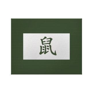 Kinesisk zodiac undertecknar råttagrönt canvastryck