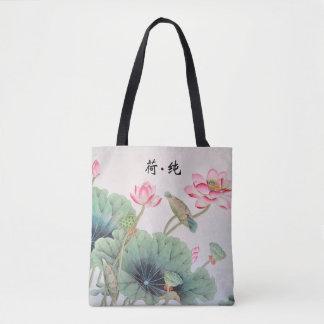 Kinesiska lotusblommar som målar Tole, hänger lös Tygkasse