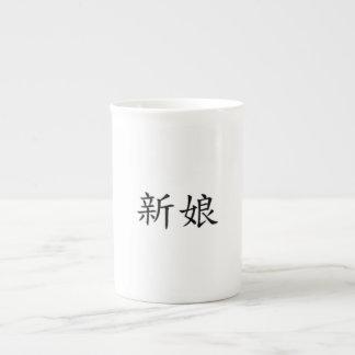 "Kinesiska tecken ""brud "", tekopp"