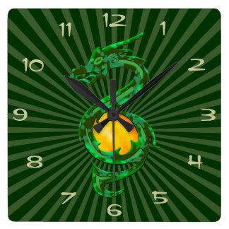 Kinesiskt år av drakeJadegrönten Fyrkantig Klocka