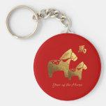 Kinesiskt år av hästgåvan Keychains Nyckelringar