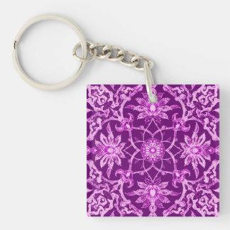 Kinesiskt mönster för art nouveau - Amethyst lila Fyrkantigt Dubbelsidigt Nyckelring I Akryl