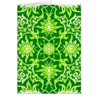 Kinesiskt mönster för art nouveau - smaragdgrönt OBS kort