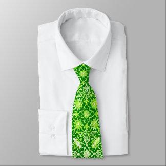 Kinesiskt mönster för art nouveau - smaragdgrönt slips