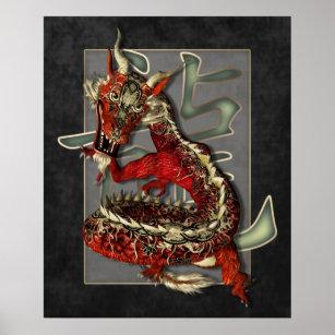 Kinesiskt rött draketryck poster
