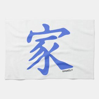 Kinesiskt tecken för kungliga blått för familj kökshandduk
