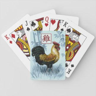 Kinesiskt Zodiacår av tuppen som leker kort Casinokort
