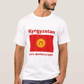 Kirgizistanflagga + Karta + TextT-tröja T-shirt