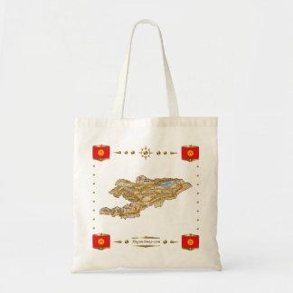 Kirgizistankarta + Flaggor hänger lös Budget Tygkasse