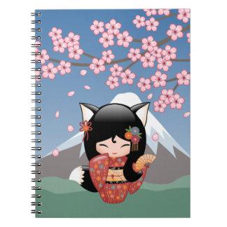 Kitsune Kokeshi docka - svart rävGeishaflicka Anteckningsbok