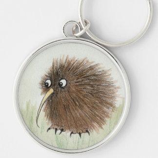 Kiwifågel Rund Silverfärgad Nyckelring