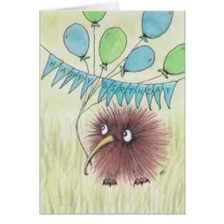 Kiwifågelgrattis på födelsedagen hälsningskort