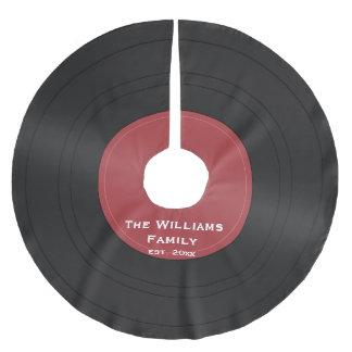 Kjol för julgran för svart vinylrekord julgransmatta borstad polyester