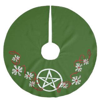 Kjol för PentacleYule träd, Pagan trädkjol Julgransmatta Borstad Polyester
