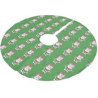 Kjol för träd för Snowbell mönstergrönt Julgransmatta Borstad Polyester