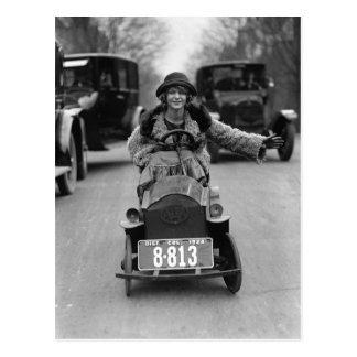 Klaff som kör pedal- Bil, 1924 Vykort