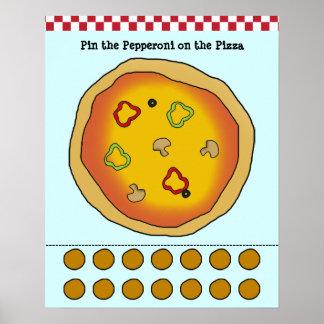 Klämma fast peperonin på Pizzaleken Poster