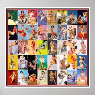 Klämma fast upp Collage 2 för trycket för flickako Poster