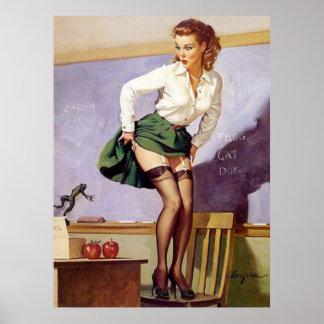 Klämmer fast den stygga lärare för vintage upp poster