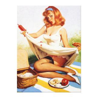 Klämmer fast den stygga picknicken för vintage upp canvastryck