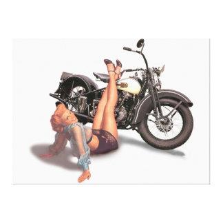 Klämmer fast den stygga skämtsamma biker för vinta canvastryck