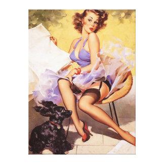 Klämmer fast den stygga violeten för vintage upp f canvastryck