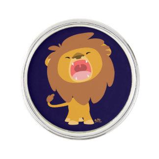 Klämmer fast lejont slag för gullig ryta tecknad rockslagsnål