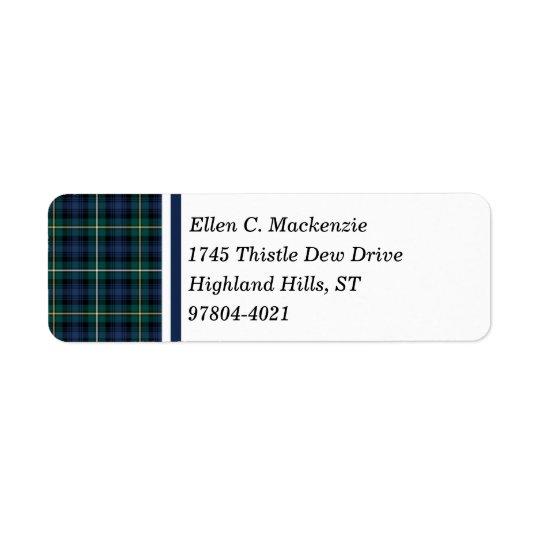 Klan Campbell av Argyll den marinblåa skotska Returadress Etikett