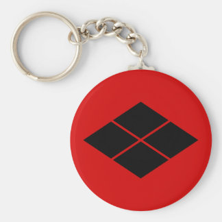 Klan för samurai för Takeda kamon röd japansk Rund Nyckelring