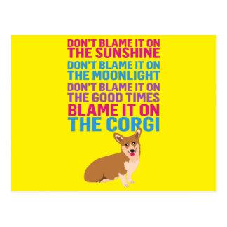 Klandra det på den rolig hund corgien vykort