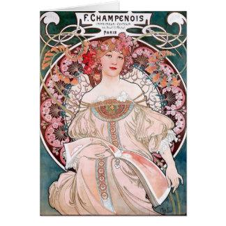 Klänning för Mucha art décoF. Champenois Paris ros Hälsningskort
