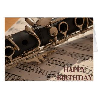 Klarinettmusikalen instrumenterar födelsedag OBS kort