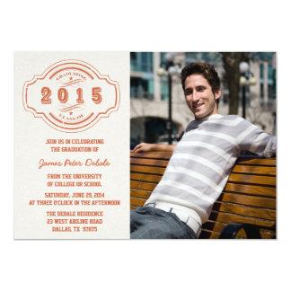 Klassificera av den 2015 brända orange 12,7 x 17,8 cm inbjudningskort