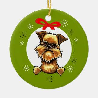 Klassiker för jul för Bryssel Griffon buselag Julgransprydnad Keramik