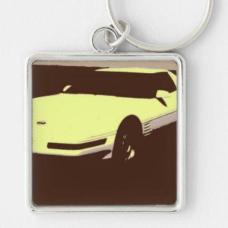 Klassikerbil 1992 fyrkantig silverfärgad nyckelring