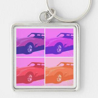 Klassikerbilar 1979 fyrkantig silverfärgad nyckelring