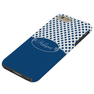 Klassikerblåttpersonlig och polka dots tough iPhone 6 plus skal