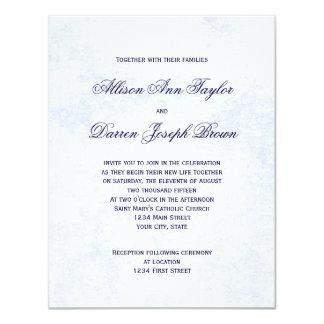 Klassikerbröllopinbjudningar i blått 10,8 x 14 cm inbjudningskort