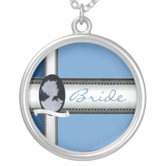 KlassikerCameo (blått) (bröllop) Silverpläterat Halsband