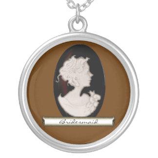 KlassikerCameo (elfenben/bruntet) (bröllop) Silverpläterat Halsband