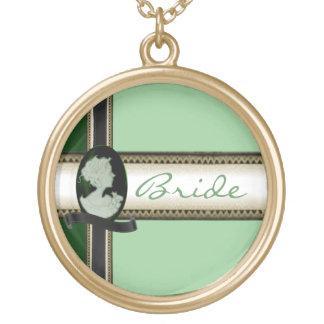 KlassikerCameo (Jade/grönt) (bröllop) Guldpläterat Halsband