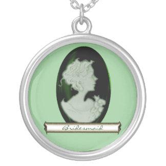 KlassikerCameo (Jade/grönt) (bröllop) Silverpläterat Halsband
