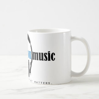 """Klassikermuggen visar BEM """"musik som materier """", Vit Mugg"""