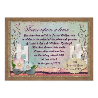 Klassikersagainbjudan för twillingar 12,7 x 17,8 cm inbjudningskort