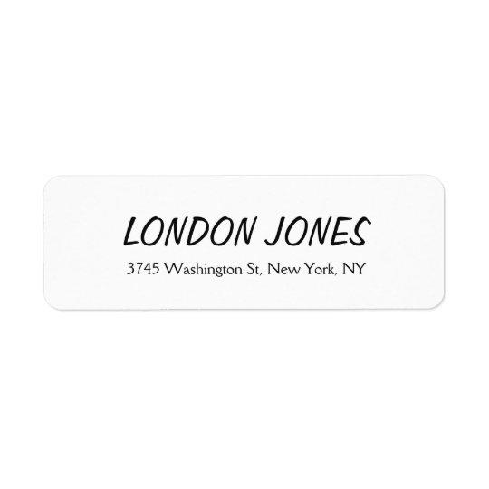 Klassisk djärv vit för elegantslättprofessionell returadress etikett