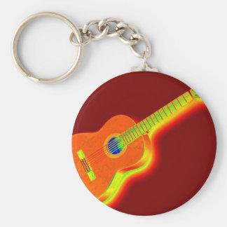 Klassisk gitarr för popkonst rund nyckelring