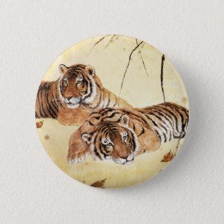 Klassisk kinesisk stilkonst, Reclining tigrar Standard Knapp Rund 5.7 Cm