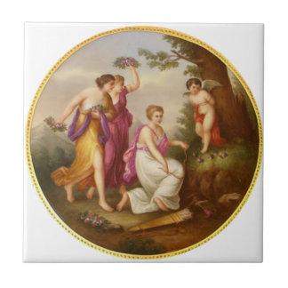 Klassisk måla vintage c1880 belägger med tegel kakelplatta